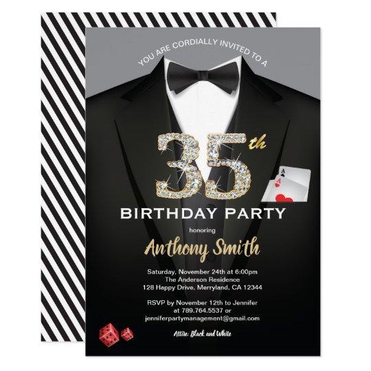Casino 35th Birthday Invitation Black And White