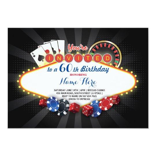 Casino Birthday Night Las Vegas Party Cards Invite
