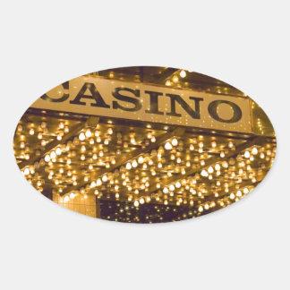 Casino Bright Lights Las Vegas Gambling Money Oval Sticker