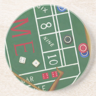 Casino Craps Table with Chips and Dice Coaster