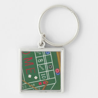 Casino Craps Table with Chips and Dice Key Ring