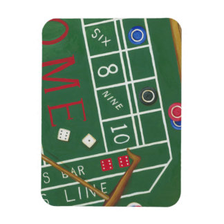 Casino Craps Table with Chips and Dice Magnet
