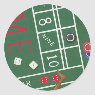 Casino Craps Table with Chips and Dice Round Sticker