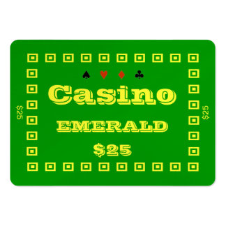 Casino ~EMERALD~ Poker Chip Plaque $25 (100ct) Pack Of Chubby Business Cards