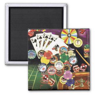 Casino Gambling - Poker, Craps, Roulette Square Magnet