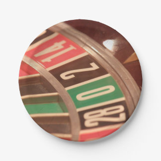 Casino Gambling Roulette Wheel Vintage Retro Style 7 Inch Paper Plate