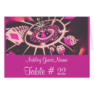 Casino Gambling Theme Table Number Guest Name tent Note Card