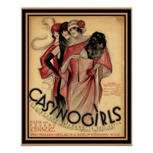 """Casino Girls"" Art Deco Poster 16 x 20"