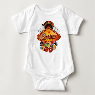 Casino illustration with gambling elements baby bodysuit