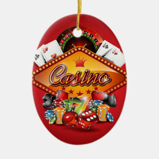 Casino illustration with gambling elements christmas ornament