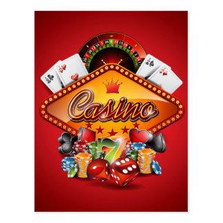 Casino illustration with gambling elements postcard