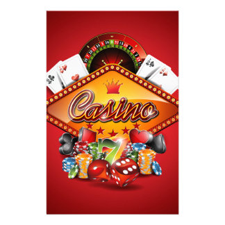 Casino illustration with gambling elements personalized stationery