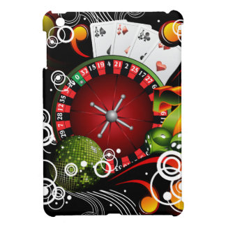 Casino illustration with roulette wheel and dices case for the iPad mini