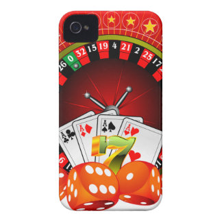 Casino illustration with roulette wheel and dices iPhone 4 cover