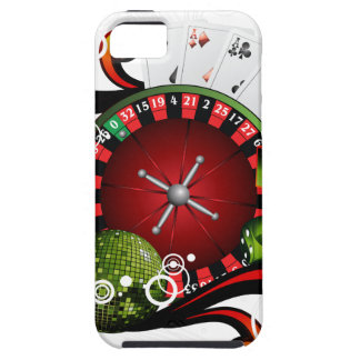Casino illustration with roulette wheel and dices iPhone 5 covers