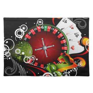 Casino illustration with roulette wheel and dices placemat