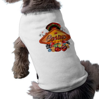 Casino illustration with roulette wheel and dices sleeveless dog shirt