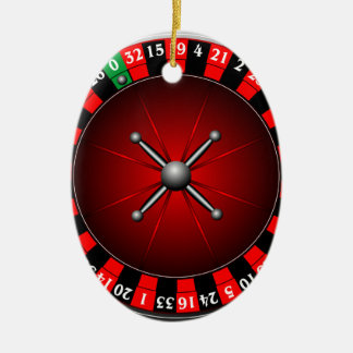 Casino illustration with roulette wheel christmas ornament