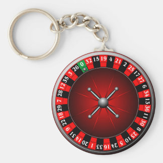 Casino illustration with roulette wheel key ring