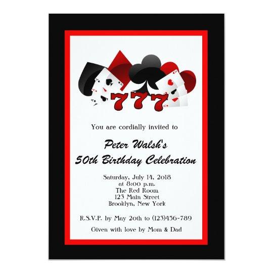 Casino Las Vegas 50th Birthday Invitation