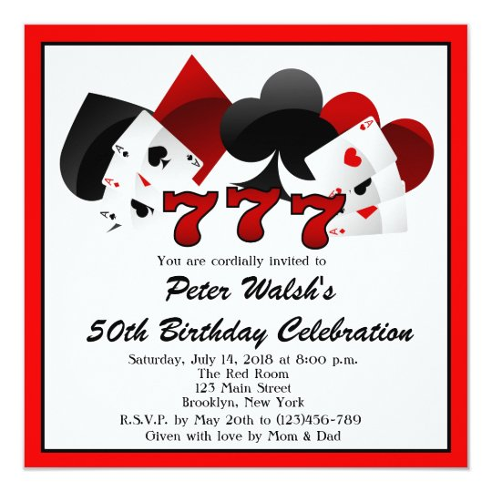 Casino Las Vegas 50th Birthday Invitation