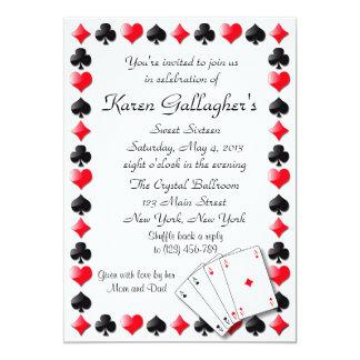 "Casino Las Vegas Sweet 16 Invitation 5"" X 7"" Invitation Card"