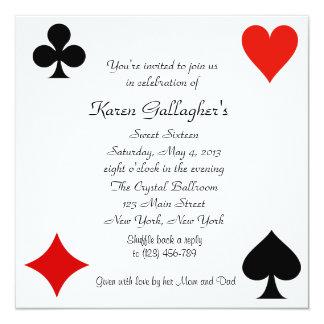 "Casino Las Vegas Sweet 16 Invitation 5.25"" Square Invitation Card"