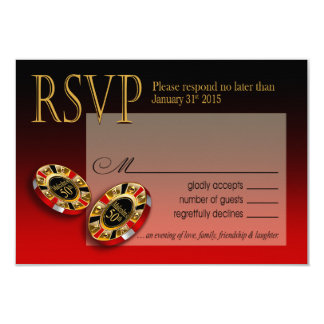 Casino Las Vegas VIP RSVP response | red 9 Cm X 13 Cm Invitation Card