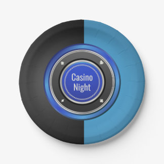 Casino Night Black and Blue Poker Chip Paper Plate