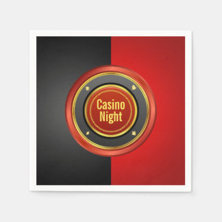 Casino Night Black and Red Poker Chip Disposable Napkins