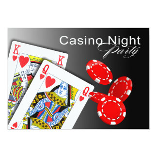 Casino Night Las Vegas Poker Party - red 13 Cm X 18 Cm Invitation Card