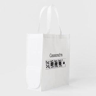 Casino Night Poker Royal Straight Flush Spades Reusable Grocery Bag