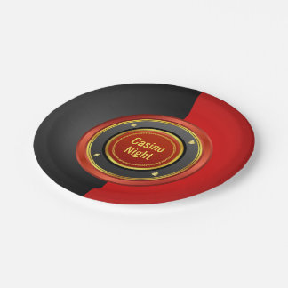Casino Night Red and Black Poker Chip Paper Plate