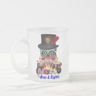 Casino Party Any Event Aces and Eights View Notes Frosted Glass Coffee Mug