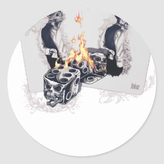 Casino Play Fire Dice Classic Round Sticker