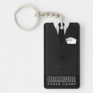 Casino Poker Champ Rectangle Double Sided Keychain