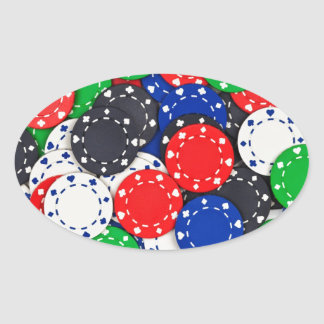 Casino poker chips oval sticker