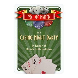 Casino Poker Night Birthday Party Card