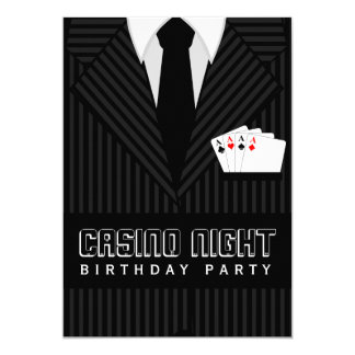 Casino Poker Night Birthday Party Custom Invite