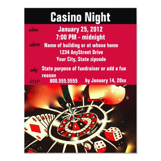 Casino Poker Night Party Card