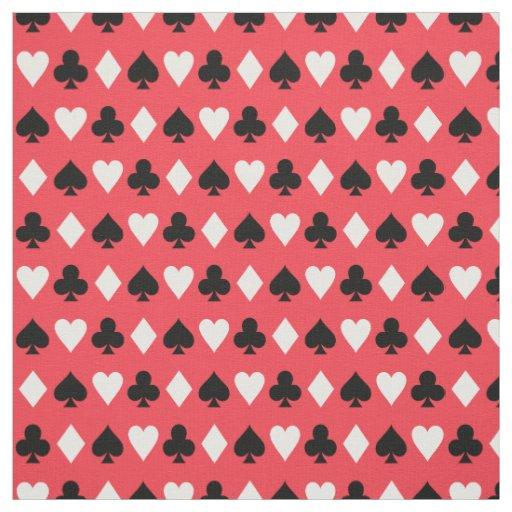 Casino Poker Playing Card Symbols Pattern Fabric