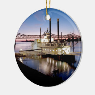 Casino Riverboat at Dusk Christmas Ornament
