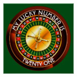 Casino Roulette Wheel With Your Lucky Number Poster