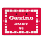 Casino ~RUBY~ Poker Chip Plaque $5 (100ct) Business Cards