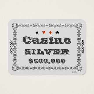 Casino ~SILVER~ Poker Chip Plaque $500K (100ct) Business Card