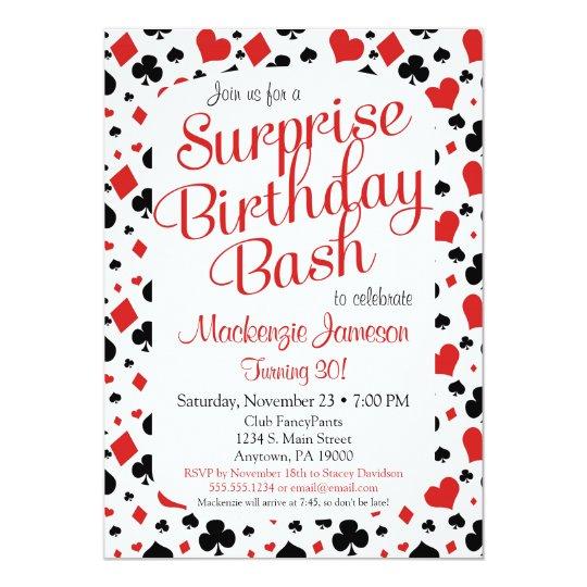 Casino Surprise Party Invitation Poker Vegas Game