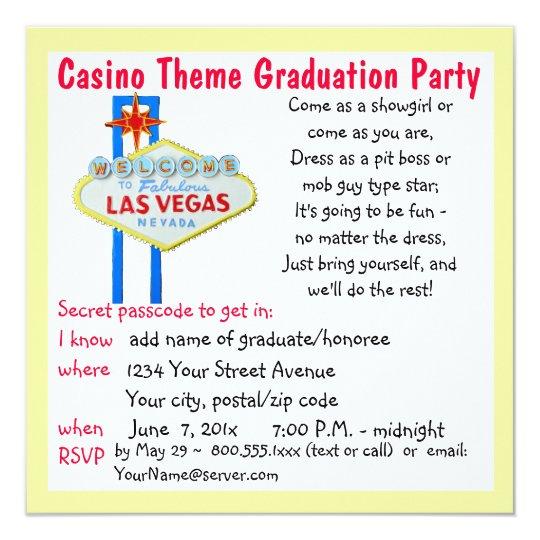 Casino Theme Vegas Style Graduation Party Card