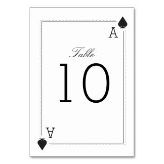 Casino Wedding Table Number Card - Spades Table Cards