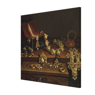 Casket of jewels on a table canvas print