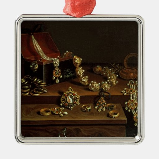 Casket of jewels on a table christmas tree ornament